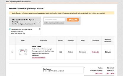Em seu Carrinho de Compras, selecione o plano adquirido no item 'Escolha uma promo��o ou Plano Pr�-Pago'